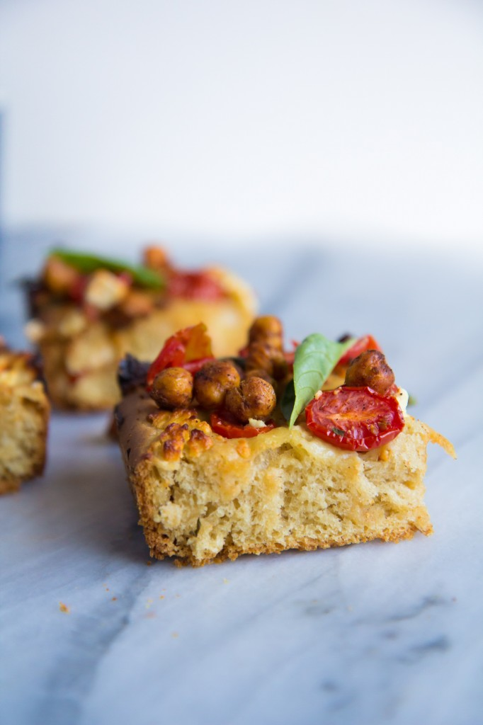 Caprese Salad Focaccia with Crunchy Roasted Chickpeas-11