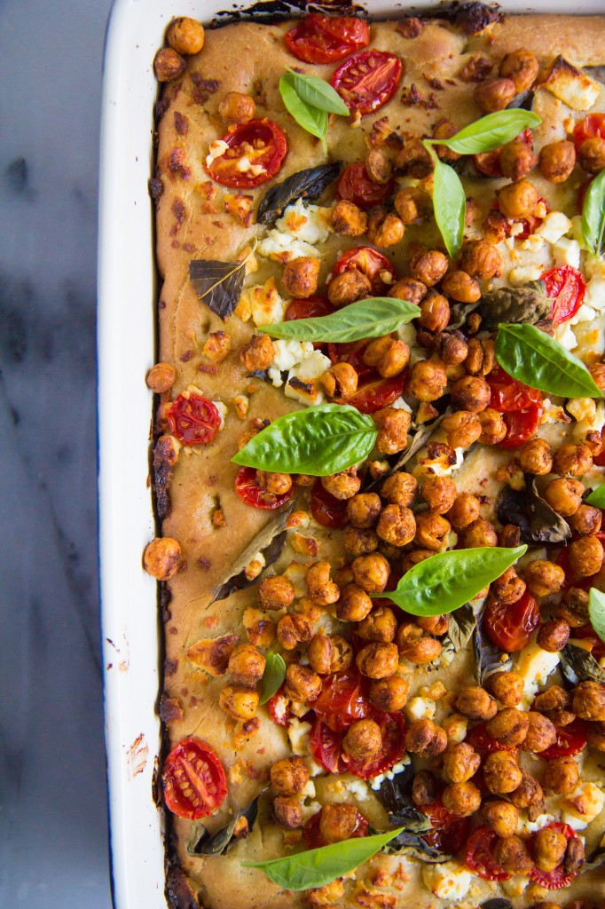 Caprese Salad Focaccia with Crunchy Roasted Chickpeas-6