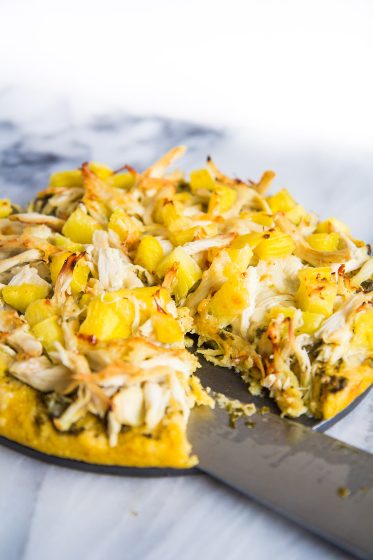 Pesto Chicken & Pineapple Pizza-8