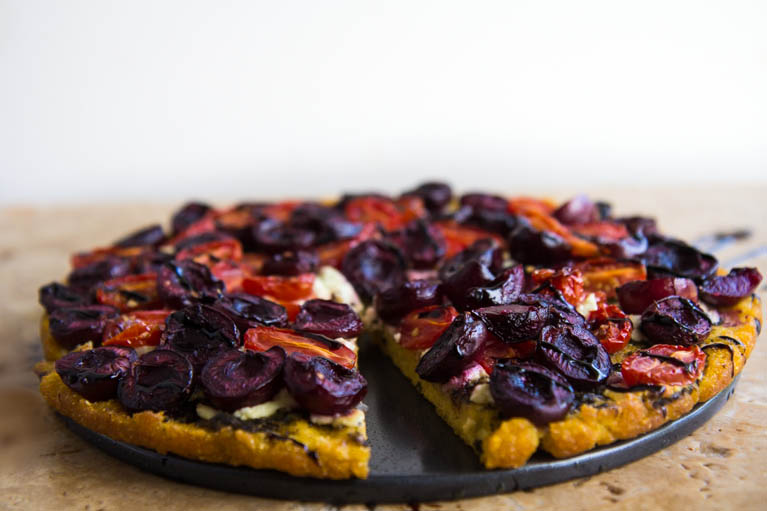 Roasted Cherry Polenta Pizza