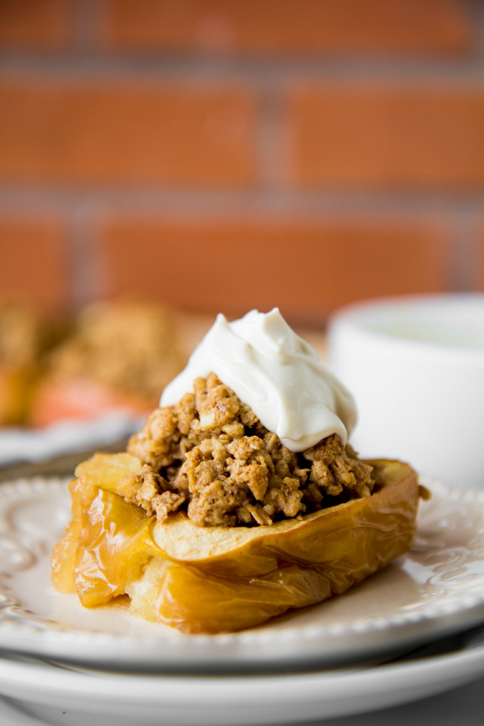Oatmeal Cookie Granola Stuffed Baked Apples-5