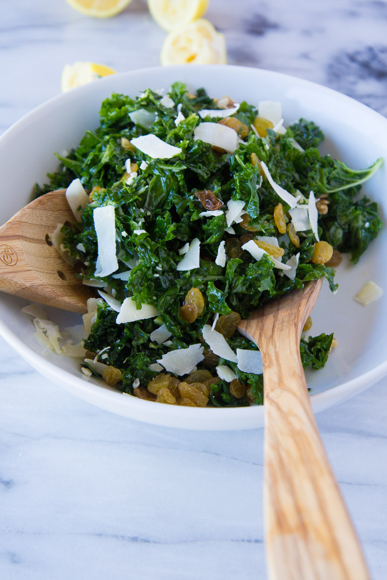 Simple Kale Salad with Walnuts, Raisins and Parmesan | Yeah...immaeatthat