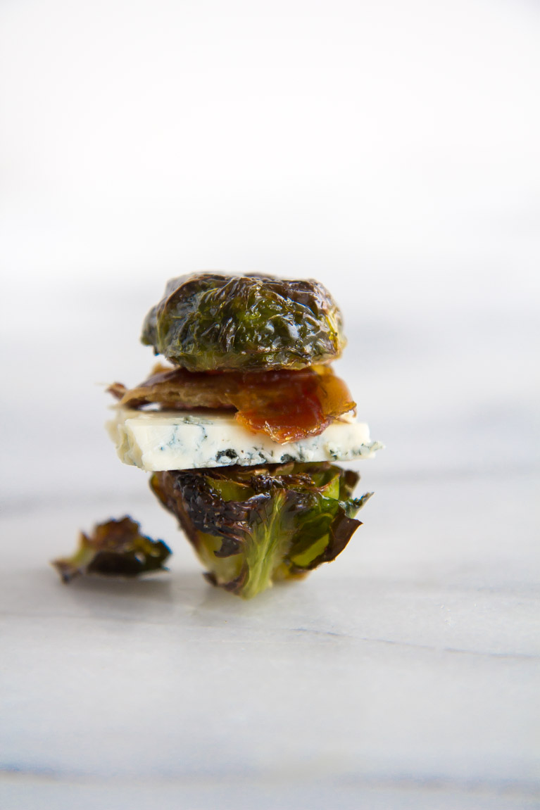 The ultimate (healthy) holiday appetizer!  Crispy, Roasted Brussels Sprout Sandwiches!
