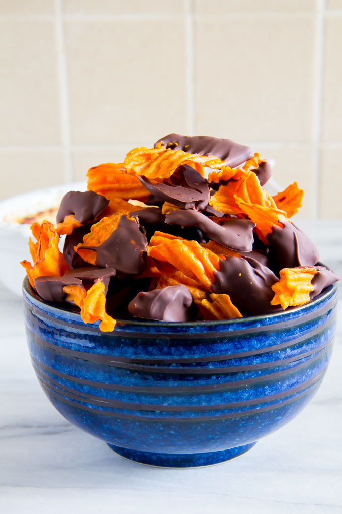 baked ricotta with dark chocolate sweet potato chips-5