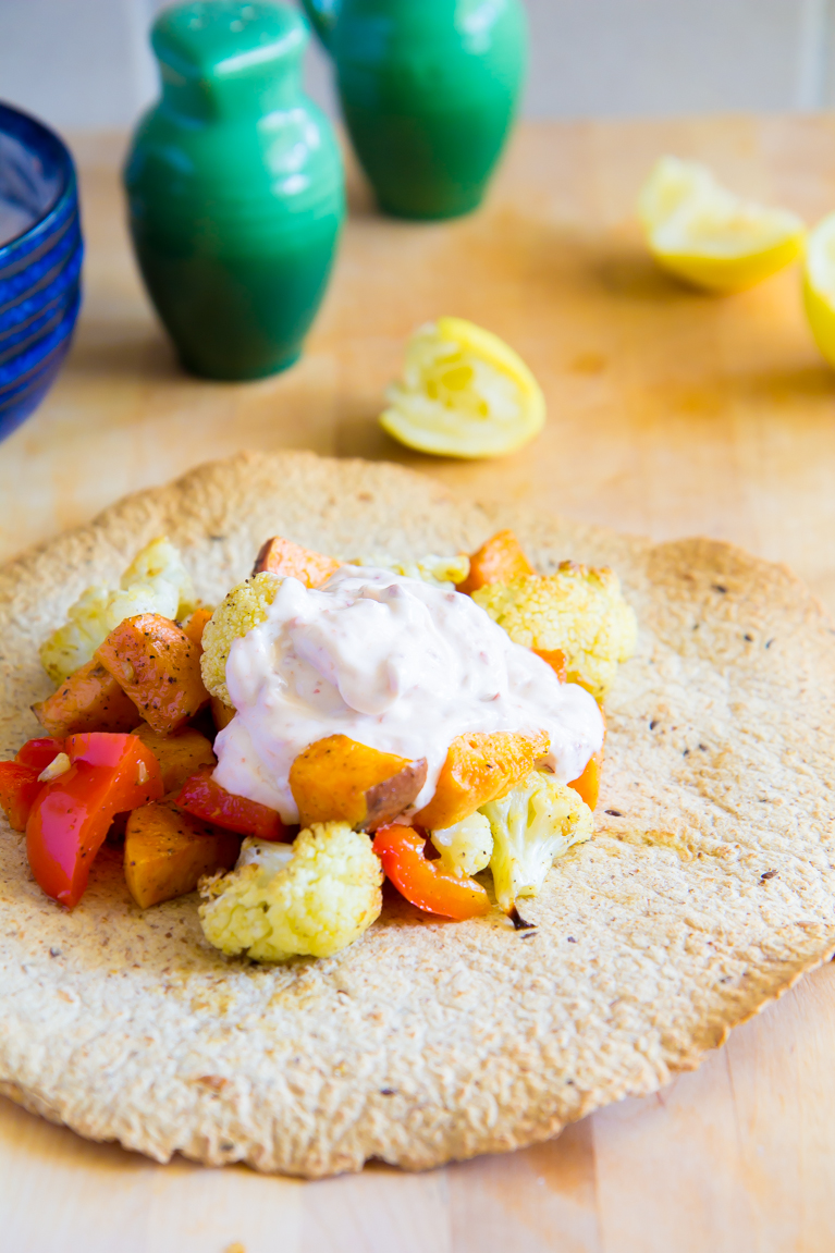 Crispy Tortillas topped with Roasted Veggies & Creamy Chiptole Sauce! Great for lunch or a light dinner!