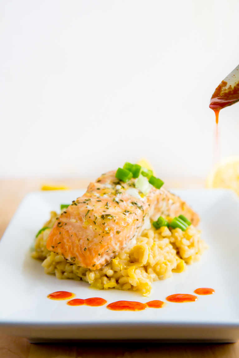Slow baked salmon...the best way to cook salmon! Served with lemon risotto and chili oil.