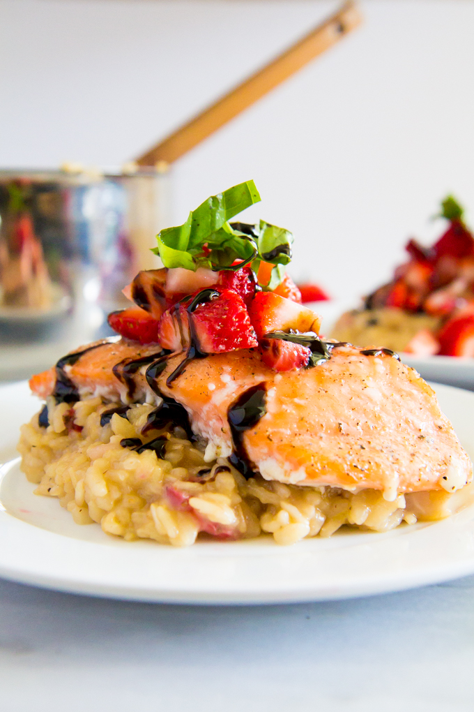 Strawberry Brown Rice Risotto with Slow Baked Salmon \\ immaEatThat