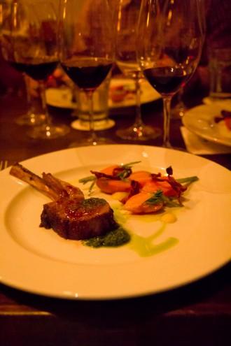 Roasted Lamb Chop, Globe Carrots, Curried Yogurt, Carrot Top Pesto \\ Aces of Taste