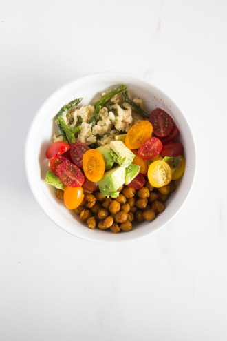 How to eat 7 servings of fruits & veggies-lunch \\ turmeric chickpeas + coconut asparagus risotto + tomato-avocado salsa