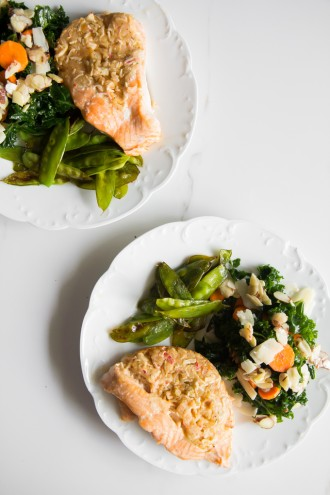 How to eat 7 servings of fruits & veggies-dinner \\ stuffed salmon + kale salad + olive oil sauteed snap peas