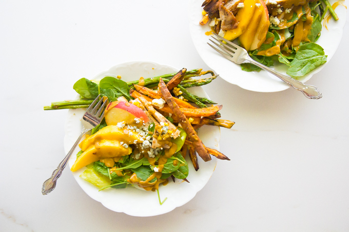 Blue Cheese & Sweet Potato Fries Salad \\ immaEATthat.com