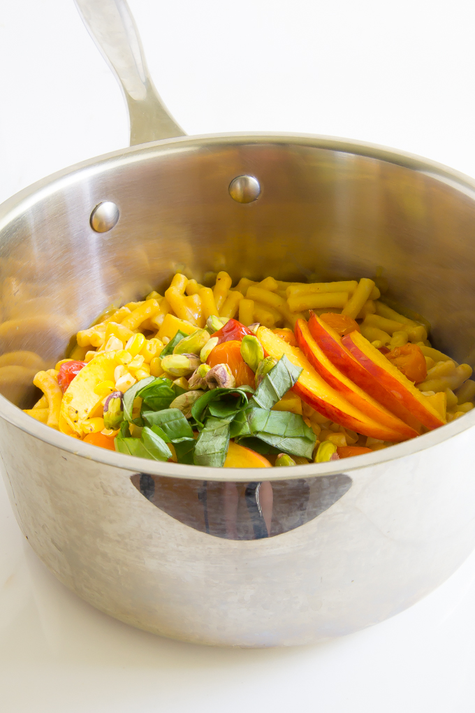 Summer Mac & Cheese - corn, cherry tomatoes, squash, basil, pistachios, peaches \\ immaEATthat.com