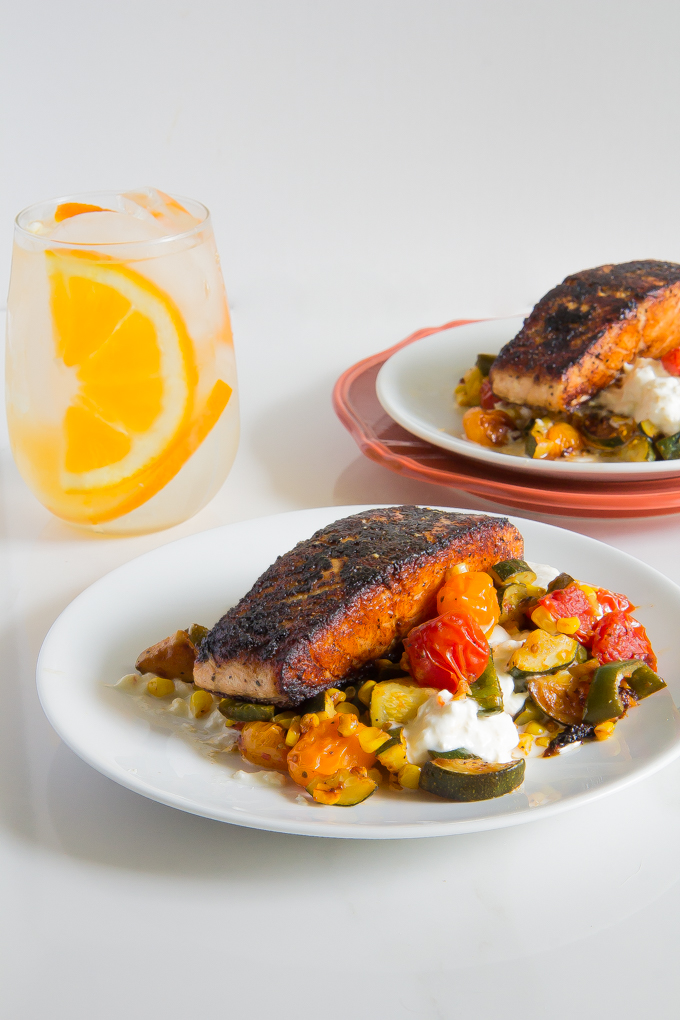 Blackened Salmon with Burrata Veggies