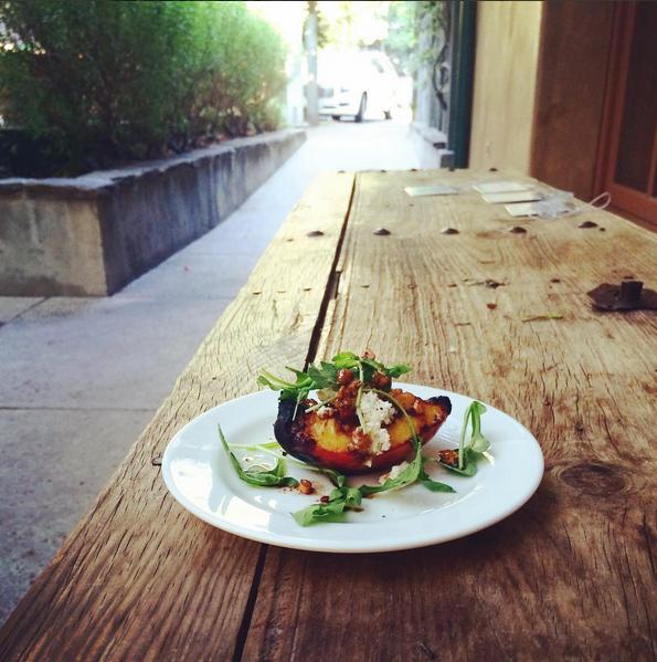 grilled peaches + almond oil vinaigrette + almond cheese | immaEATthat.com