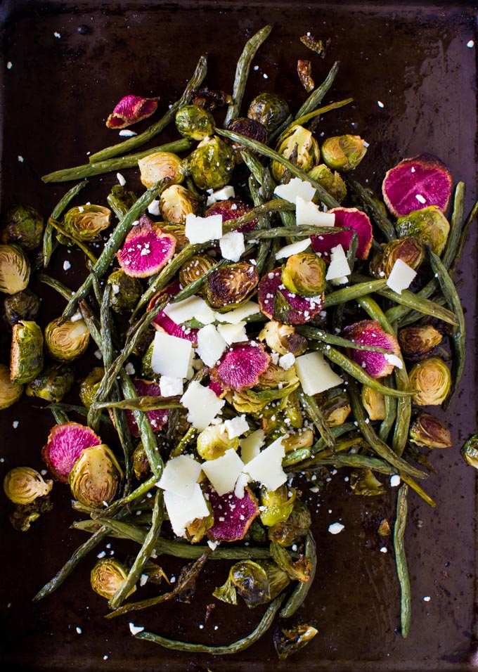 Roasted Brussels Salad with Basil Parmesan Goat Cheese Sauce. The perfect side dish for Thanksgiving and Christmas! | immaEATthat.com