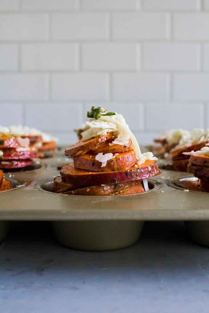 scalloped sweet potato stacks with maple vanilla bean bacon | immaEATthat.com