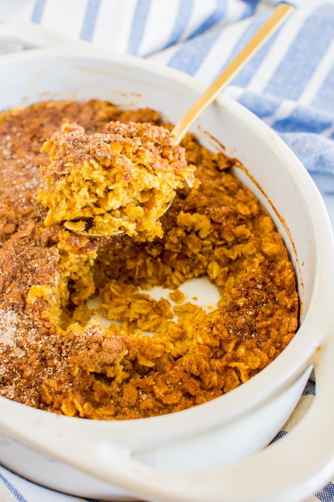 pumpkin snickerdoodle baked oatmeal | immaEATthat.com