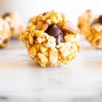 Orange Zest Popcorn Balls with Smoked Almonds and Dark Chocolate