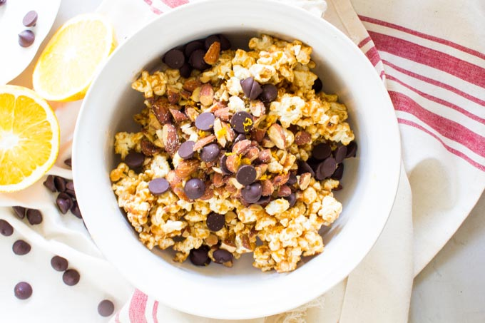Orange Zest Popcorn Balls with Smoked Almonds and Dark Chocolate