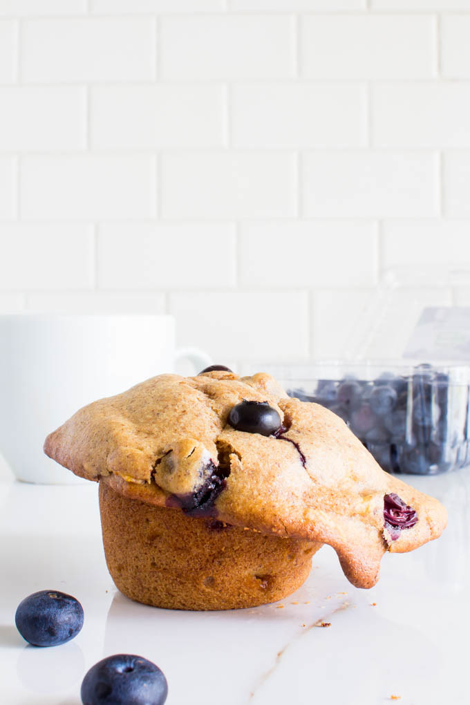 almond butter blueberry muffin for ONE | immaEATthat.com