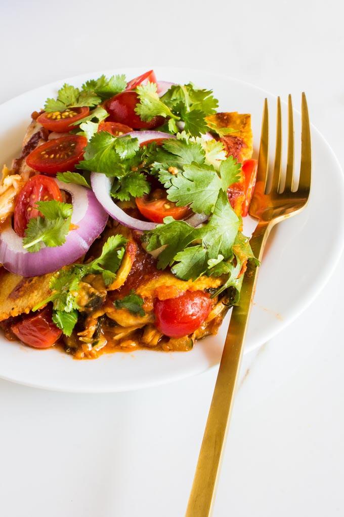 3 greens cheesy BBQ enchiladas | immaEATthat.com