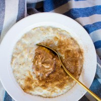 creamy banana oatmeal with almond butter and cinnamon sugar | immaEATthat.com