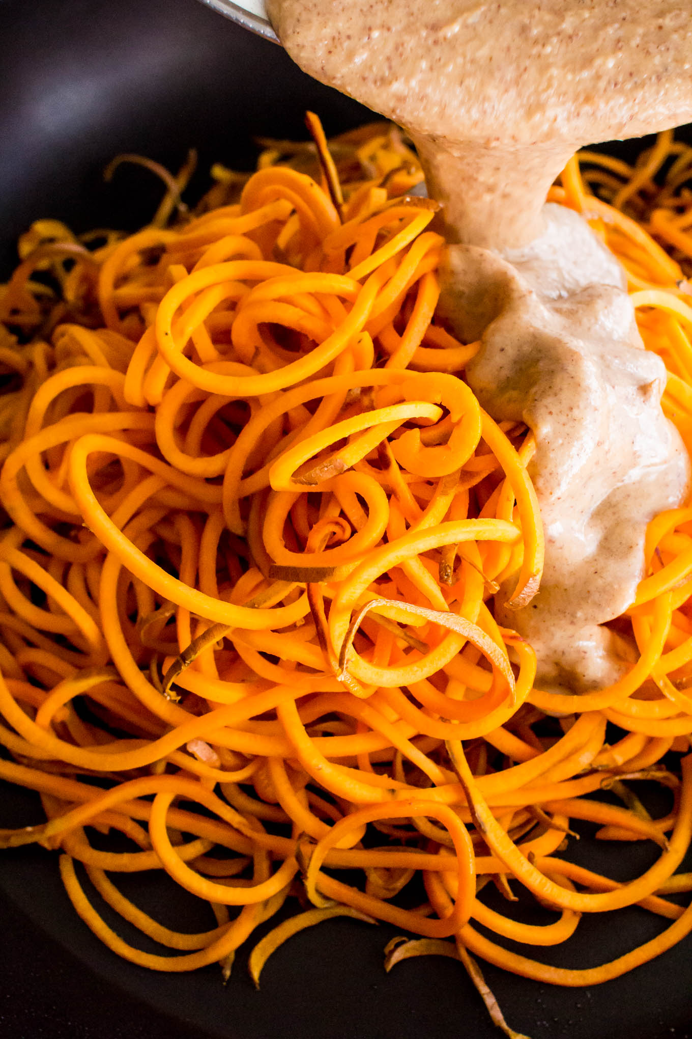 almond butter sweet potato pasta-3