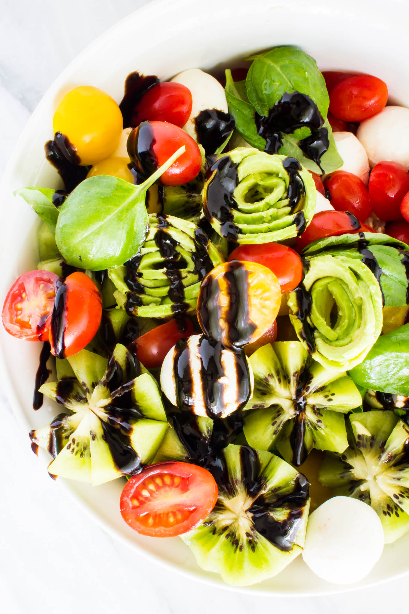 kiwi caprese salad with avocado roses | immaEATther
