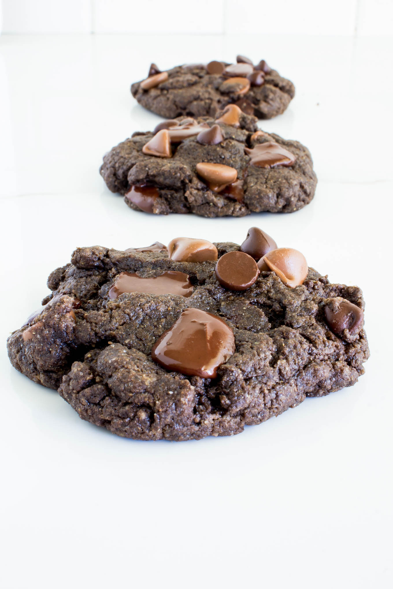 fudgy vegan triple chocolate cookies | immaEATthat.com