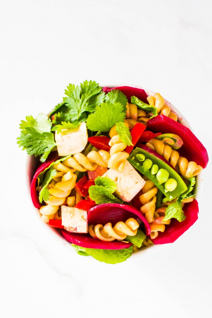 pickled beet thai pasta salad | immaEATthat.com