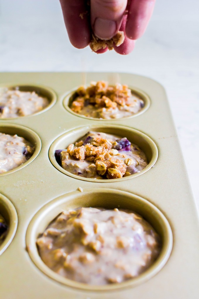 cherry vanilla protein muffins with a peanut butter core | immaEATthat.com