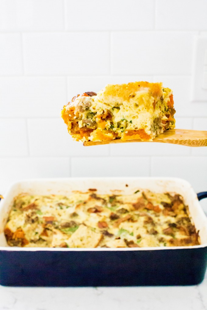 3 herb 3 cheese egg casserole | immaEATthat.com