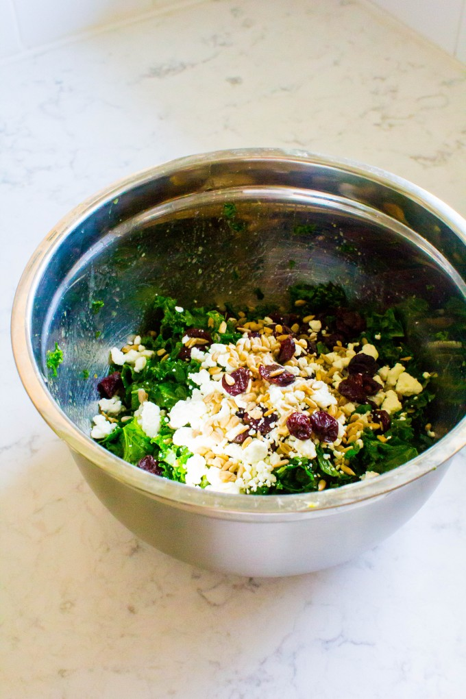 kale salad with dried cherries, goat cheese and sunflower seeds | immaEATthat.com