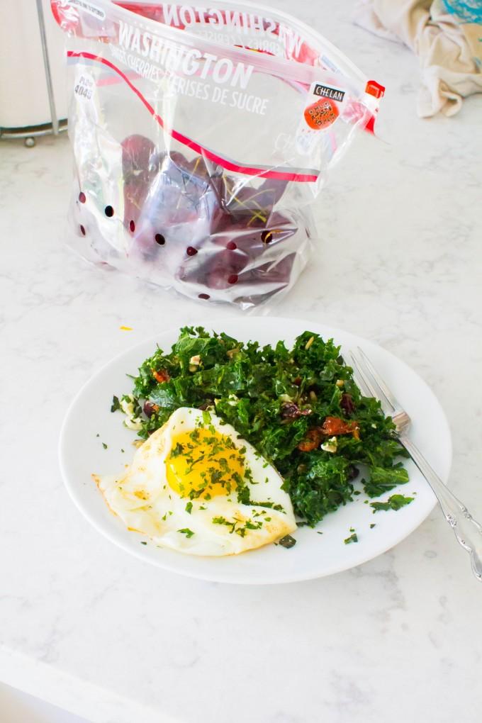 lunch = kale salad + fried egg + cherries | immaEATthat.com