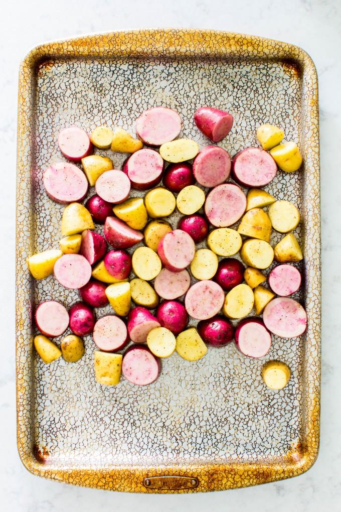 crispy potatoes with basil chimichurri sauce | immaEATthat.com