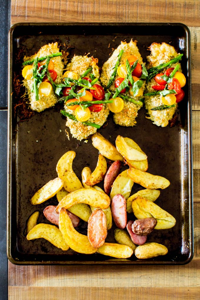 Delicious and healthy sheet pan dinner! Homemade parmesan chicken with asparagus caprese and roasted fingerling potatoes | immaEATthat.com