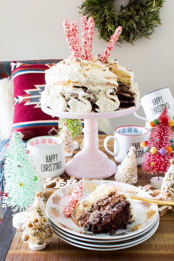 7 swans-a-swimming 7-layer hot chocolate CAKE! The most beautiful cake for the holiday season! | immaEATthat.com