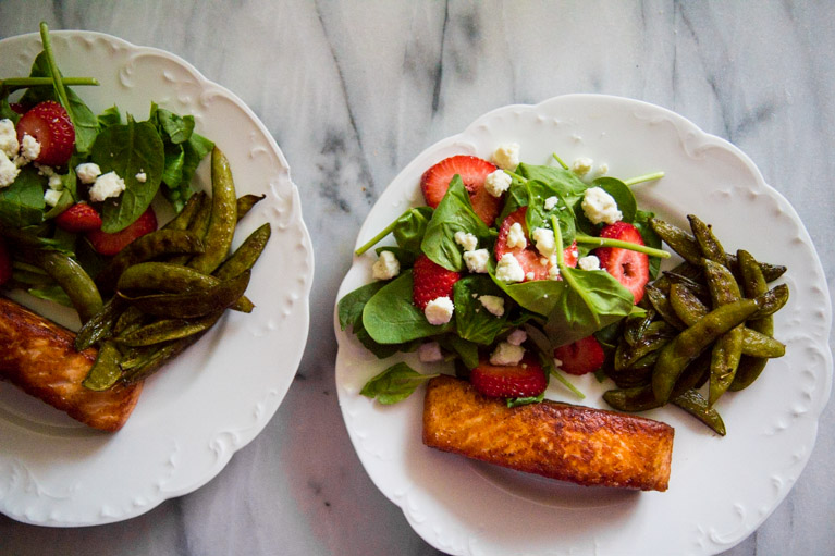 Pan-seared Salmon with snap peas and salad