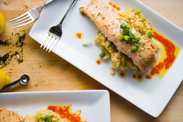 Slow baked salmon with lemon risotto.  The best way to cook salmon!