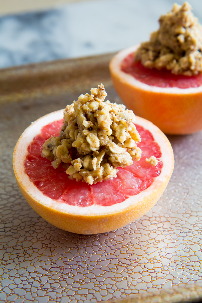 Roasted Grapefruit topped with Walnut Granola! Perfect for breakfast, brunch or snacking!