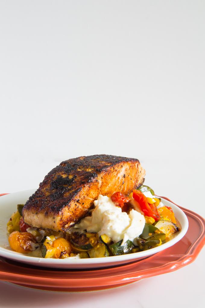 blackened salmon with creamy burrata summer veggies \\ immaEATthat.com