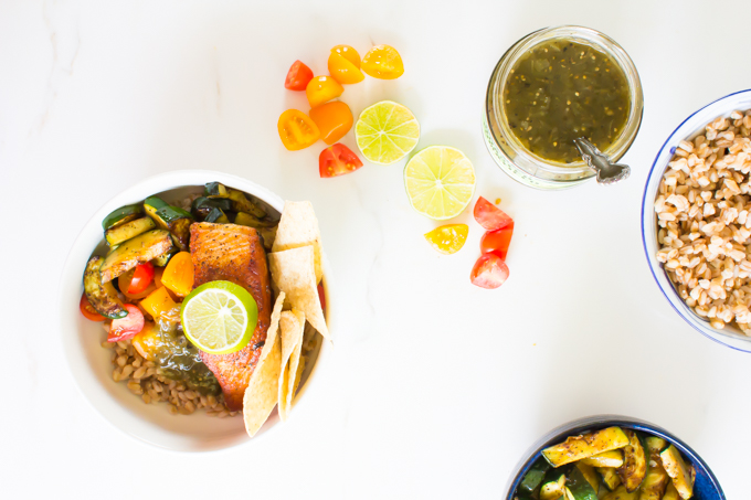 Green Chili Salmon Taco Bowls \\ immaEATthat.com