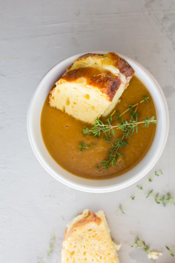 miso butternut squash soup with french toast grilled cheese. Tastes like Thanksgiving in a bowl! | immaEATthat.com