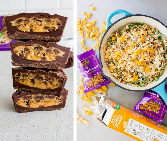 Sweet and savory recipes to add to your holiday menu! Cookie stuffed peanut butter cups and lightened-up green bean casserole | immaEATthat.com