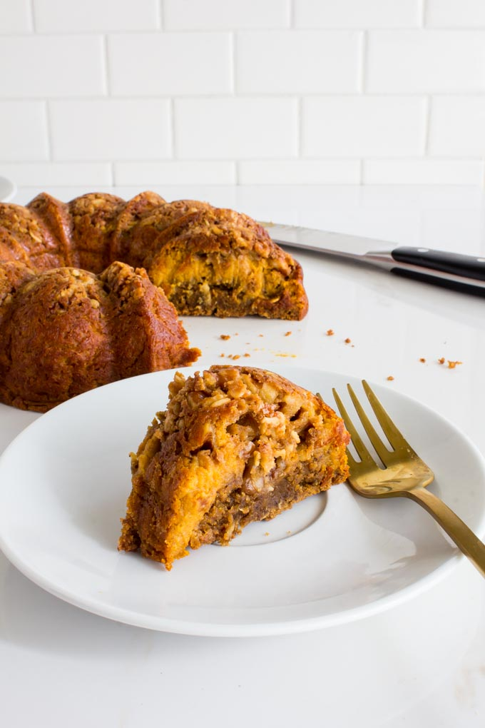Gingerbread Pumpkin Pie Coffee Cake. The perfect sweet addition to Thanksgiving or Christmas menus!   immaEATthat.com