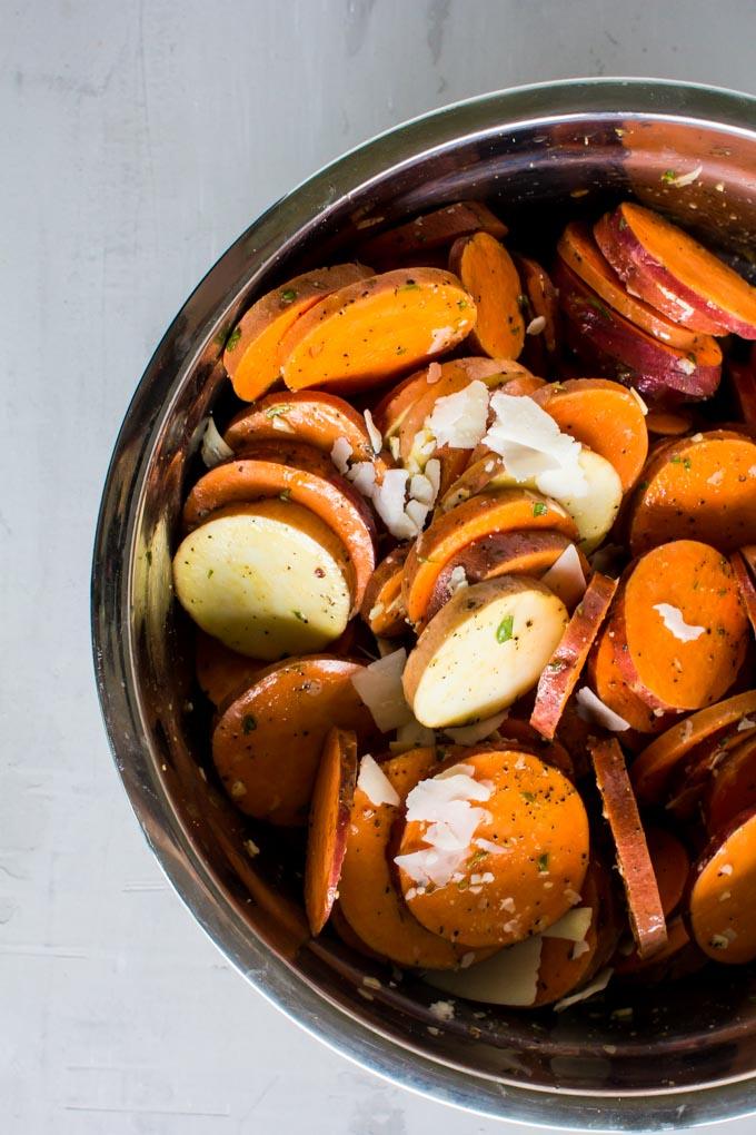 scalloped sweet potato stacks with maple vanilla bean bacon | immaEATthat.com