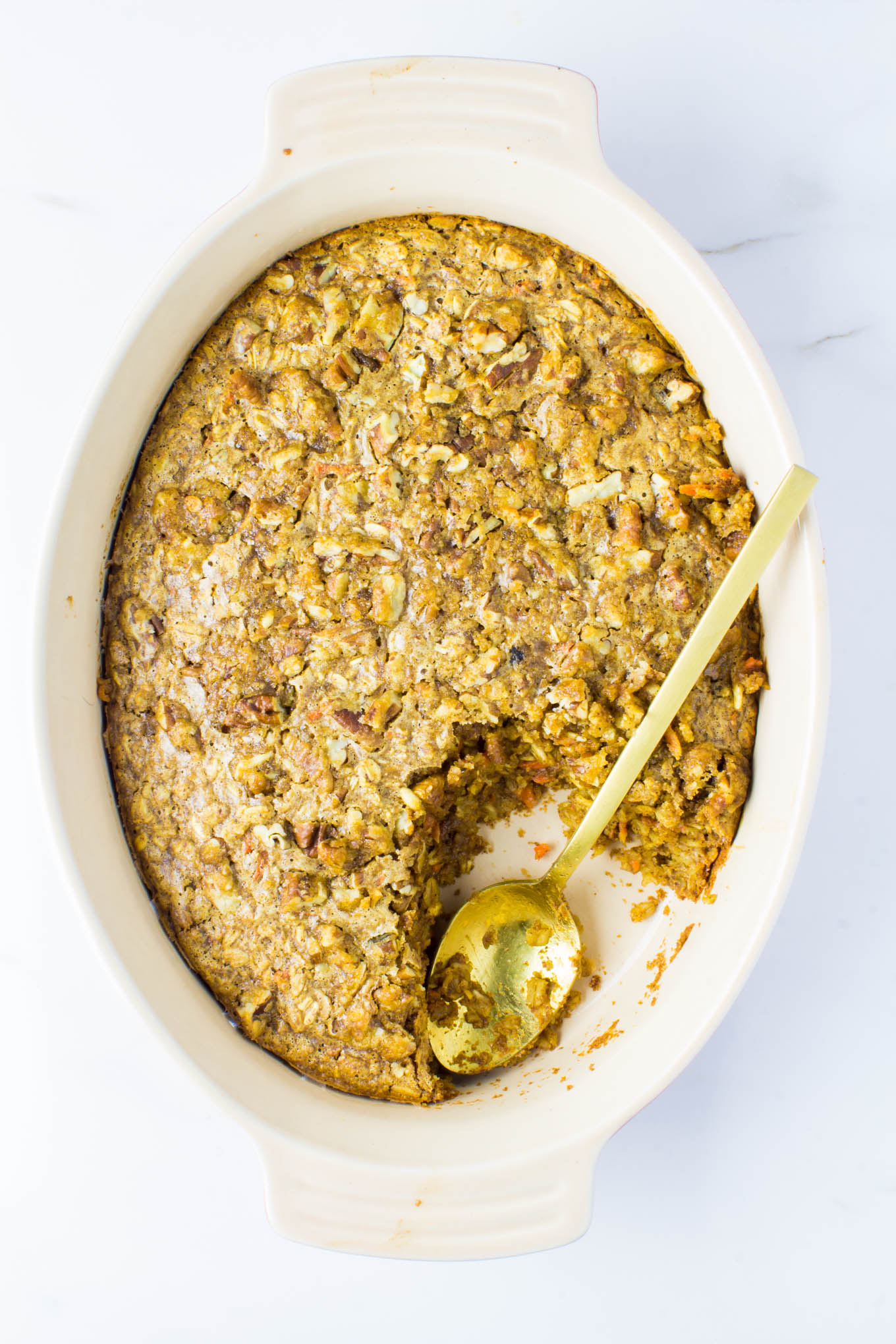 carrot cake baked oatmeal with pecan streusel | immaEATthat.com