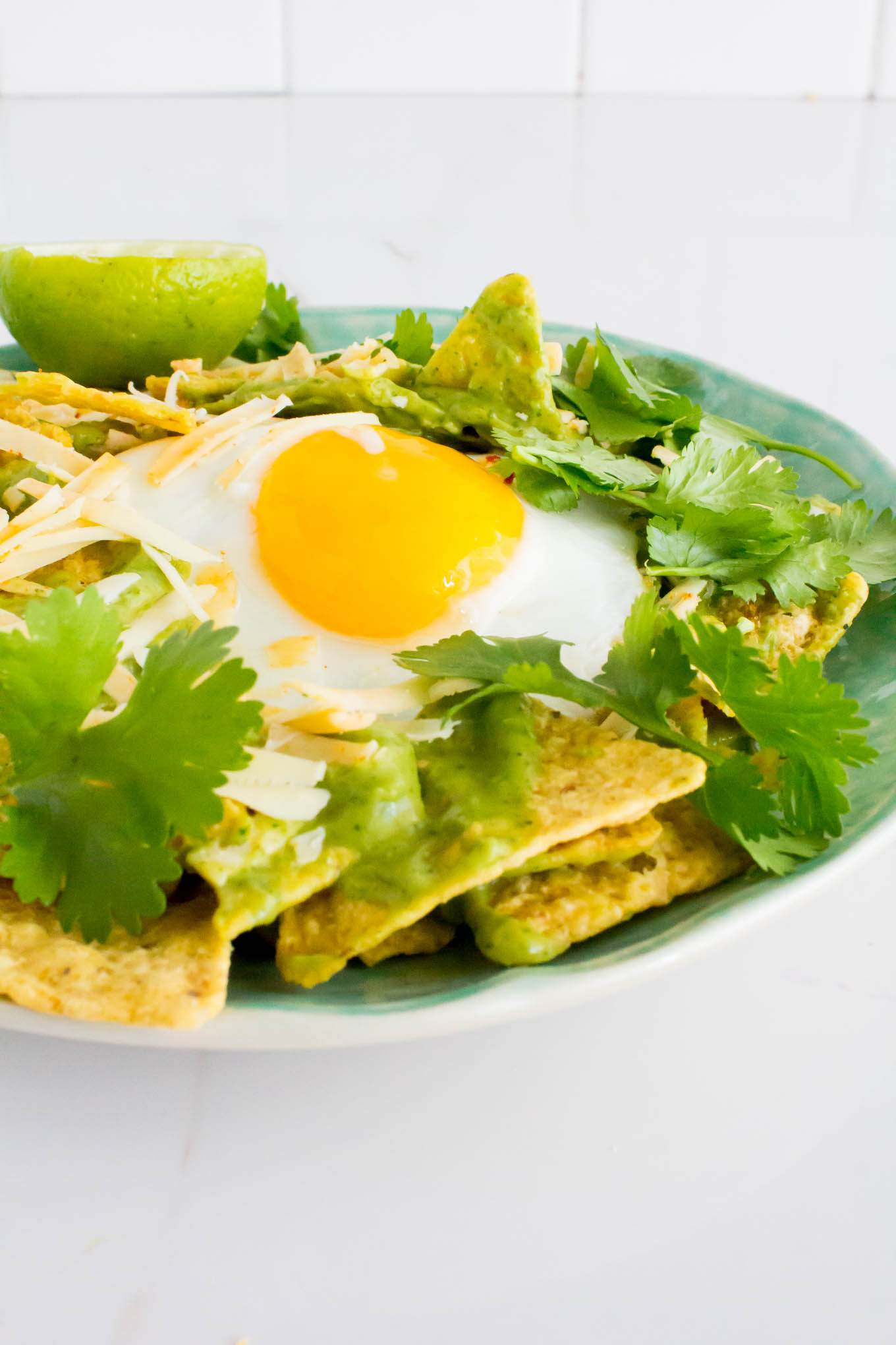 creamy cilantro sauce chilaquiles | immaEATthat.com