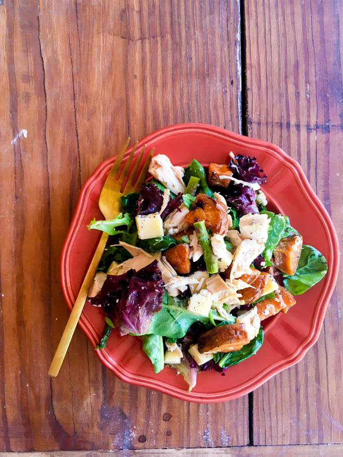 fall salad - cranberries, goat cheese, roasted sweet potatoes, chicken | immaEATthat.com