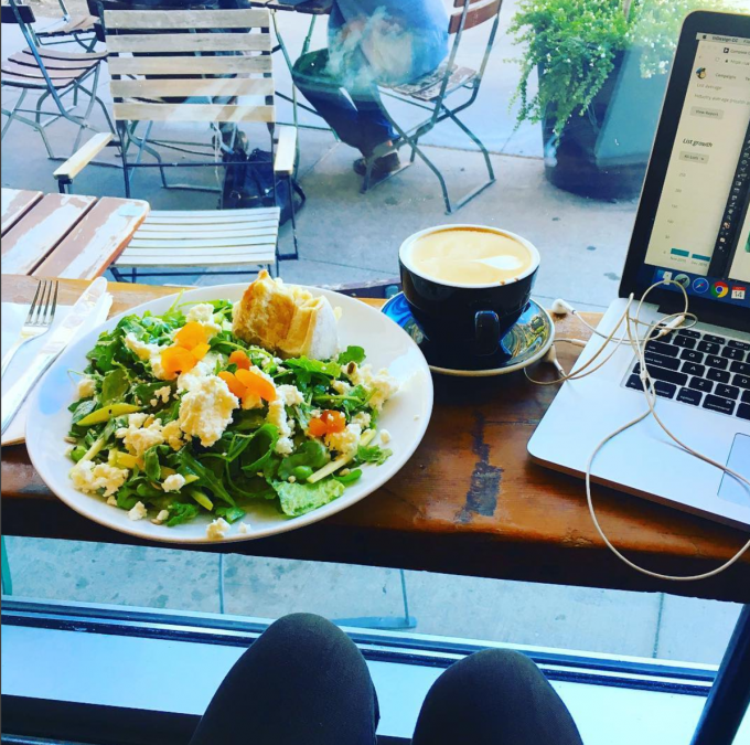 Tarte in Boston. Epic salad + citrus-y dressing + chewy bread + a latte | immaEATthat.com
